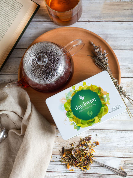 Comforting Daydream tisane comes in loose leaf bulk or gift tins. (Adorable Petite Teapots sold separately.)